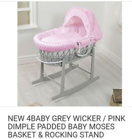 Pink and grey wicker Moses basket