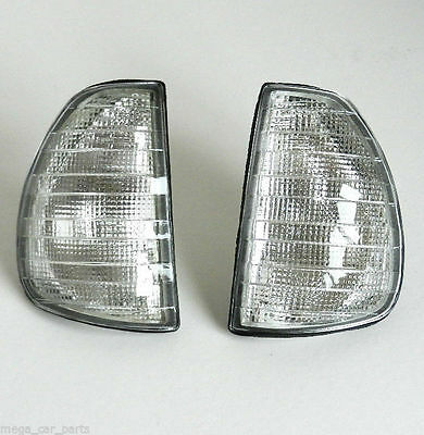 MERCEDES W123 1975-1985 FRONT INDICATOR LIGHTS PAIR CLEAR LENS LAMP SET LH + RH