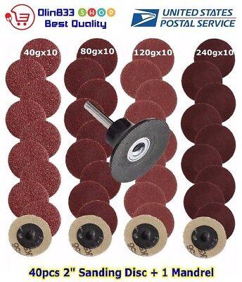 "40pcs 2"" Roll Lock Sanding Disc 40/80/120/240 Grit Abrasive Tool + Mandrel USA"