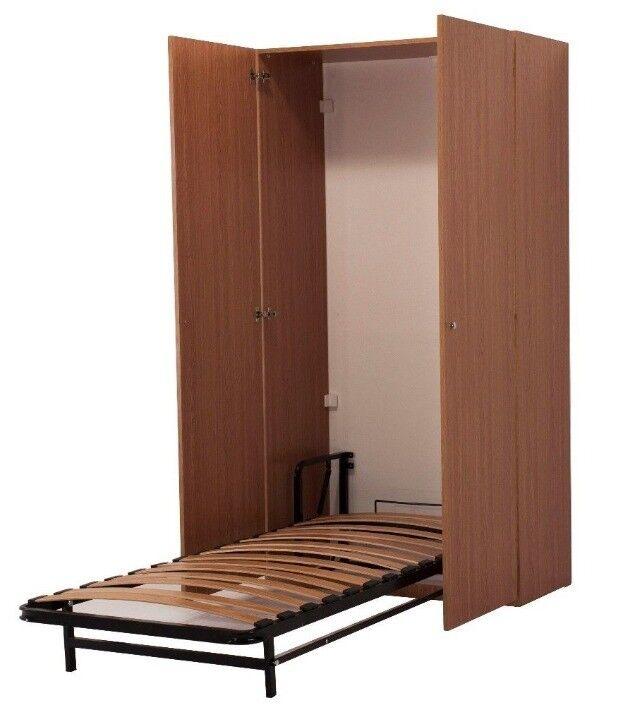 Vertical Murphy Wall Foldaway Bed 90cmx200cm In Cabinet Oak In