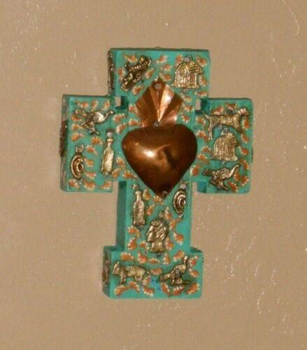 Mexico Mexican Folk Art Sacred Heart Milagro Charms Handmade Hanging Wood Cross