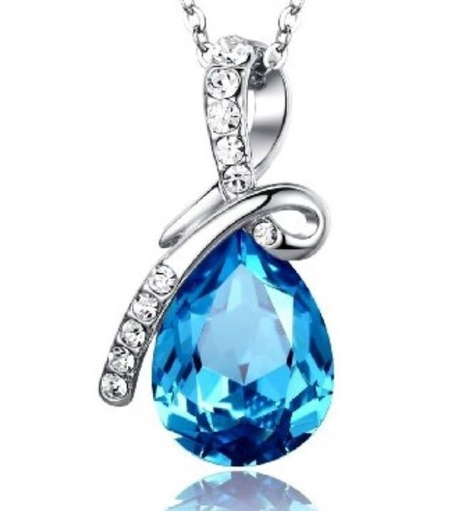 Teardrop Swarovski Crystal Pendant Necklace (Blue, Yellow, Orange, Purple)