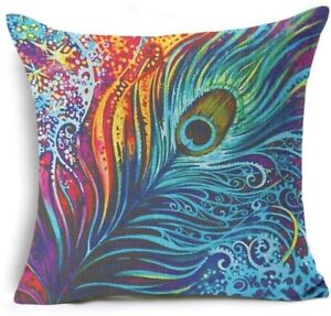 GROOVY PEACOCK FEATHER Victorian theme New LINEN-COTTON CUSHION Cover, UK Sale