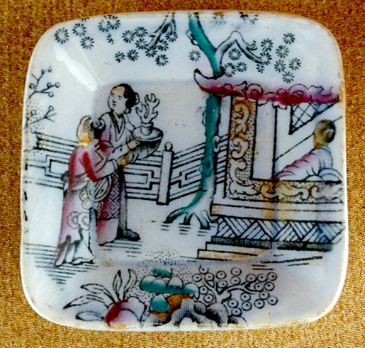 ASHWORTH Antique CHINESE Ironstone Porcelain  POLYCHROME TRANSFERWARE Butter Pat