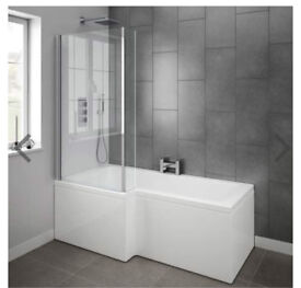 L'shape bath with shower screen