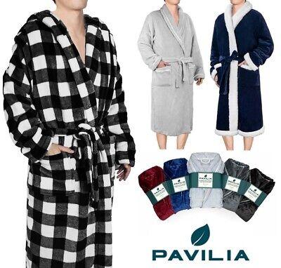 Men's Robe Microfiber Fleece Bathrobe Shawl Collar Spa Robe Sleepwear Soft -