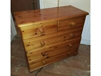 3+2 solid pine chest of drawers