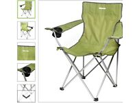 Bagged green fold up camp chair (standard and XXl sizes)