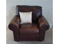 Chocolate brown leather sofa and armchair