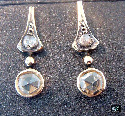 Antique ROSE CUT Diamond Stud Earrings 14k Yellow Gold Bezel Setting 1/2 ctw