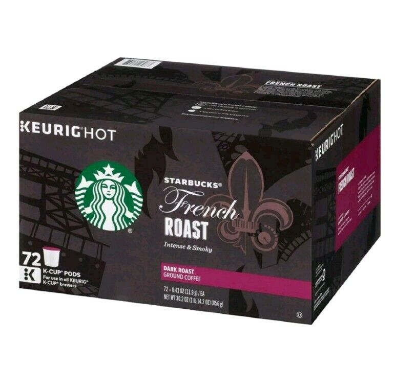 Starbucks French Roast Coffee K-Cups (72 ct.) 1-2020 Date Loose Pods Packed