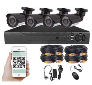 INDOOR / OUTDOOR 8 CH CCTV 4 CAMERA SECURITY SYSTEM RECORDING DV