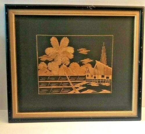 1959 Asian Bamboo Straw Framed Art House In the River Mountains Turner Gallery