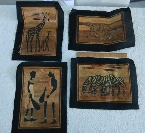 4 x African banana leaf art pieces zebras giraffes cheetahs tribespeople