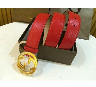 Authentic Gucci Signature Belt Red Guccissima w/ Gold GG Buckle 95/38 Waist NEW