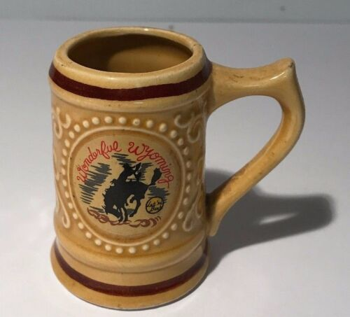 Vintage Mini Mug Travel Souvenir Wonderful Wyoming Let