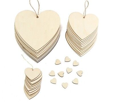 Heart Shaped Wood Chip With Rope Hanging Tags Ornaments Craft Christmas Tree New - Heart Shaped Christmas Ornaments