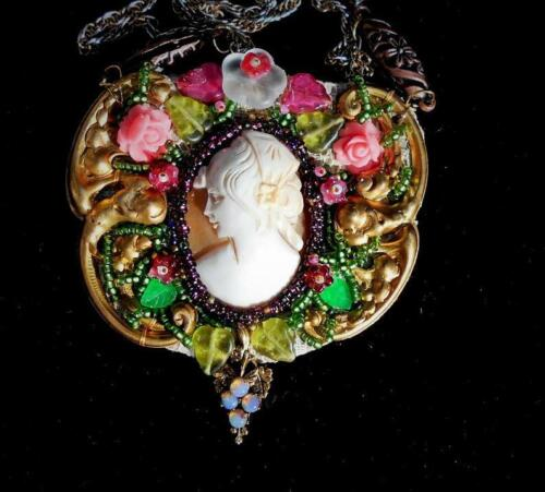 CAMEO Antique Hand Carved Large Shell Cameo w/ Hat, Bead Embroidery, Roses Neckl