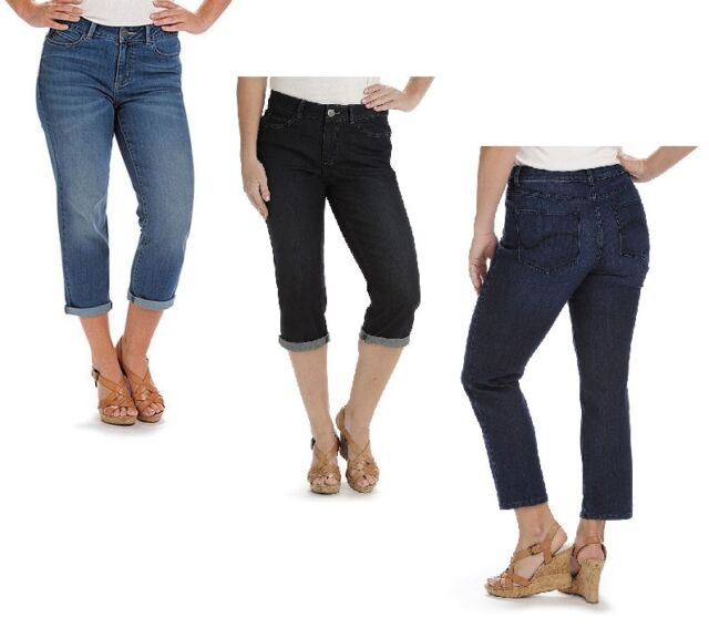 Lee Womens Modern Series Curvy Fit Stretch Denim Capris Size 6 ...