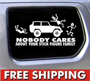 ... Jeep Family Nobody Cares Truck Funny Stickers CAR Decal Bumper | eBay