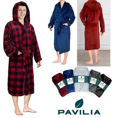 Men's Hooded Robe Microfiber Fleece Bathrobe Shawl Collar Spa Robe Sleep -