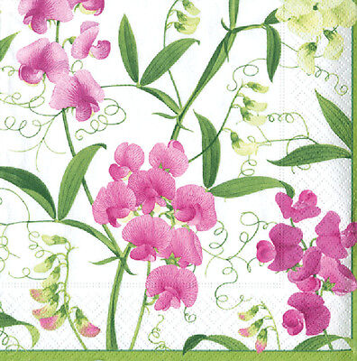 Sweet Peas Caspari Luxury paper napkins cocktail tea size new 20 in pack