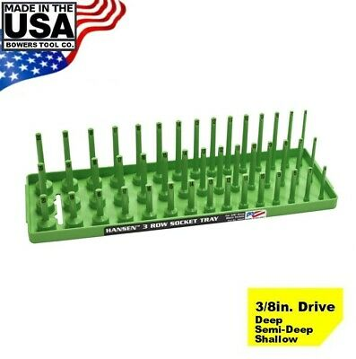 "Hansen 3/8"" Socket Tray Organizer Holder Metric 3 Row MM Shallow Semi Deep Green"