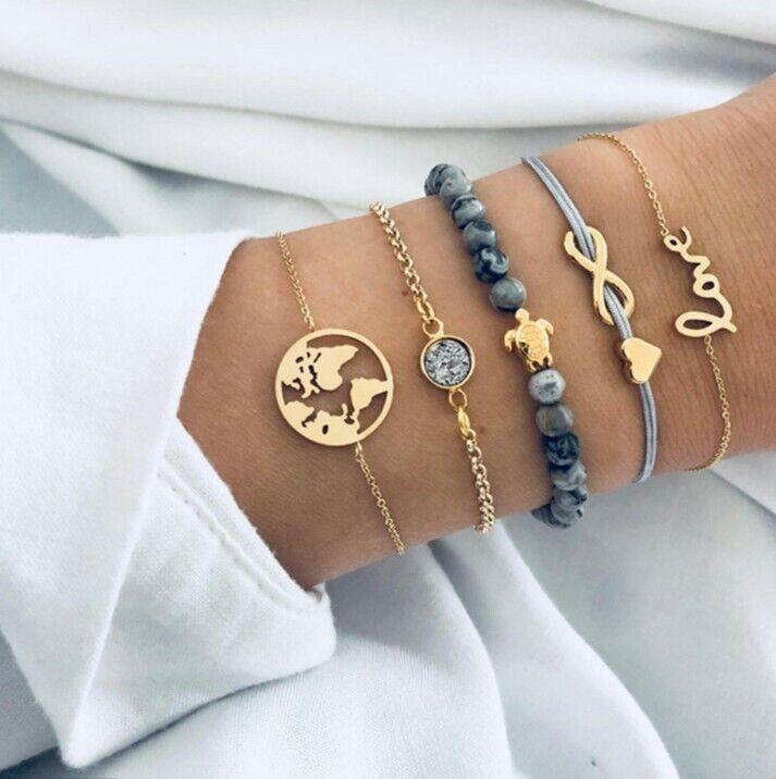 5 teiliges Armband Set Armreif Bohemian Indi Modeschmuck Orient Love Herz Welt