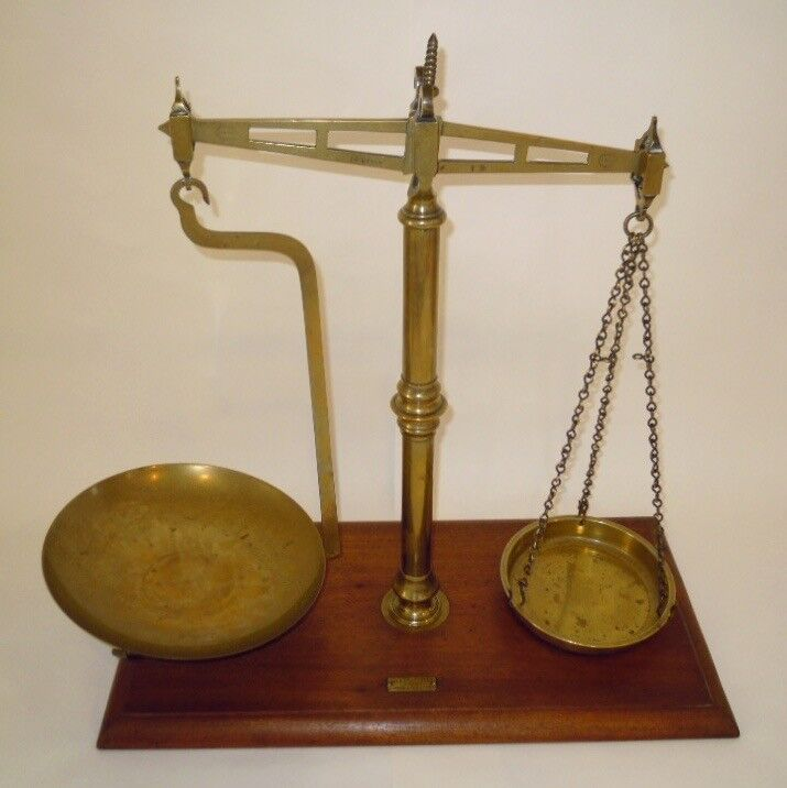 ANTIQUE DAY & MILLWARD BRASS BALANCE SCALES ON WOODEN BASE