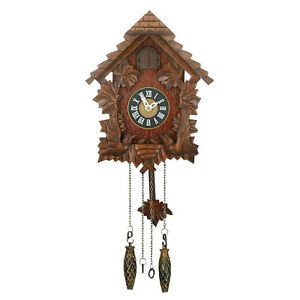 Traditional cuckoo wooden quartz wall clock bird and pendulum movement ebay - Cuckoo clock pendulum ...