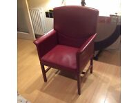 Attractive Rosewood Red Leather Desk Chair