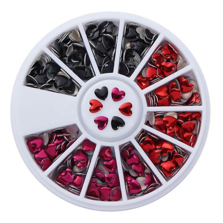 3Colors 3D Nail Art Tips gems Crystal Glitter Nail Turntable Decoration Wheel  r