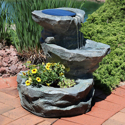 Sunnydaze Solar Garden Water Fountain with Planter, 19 Inche