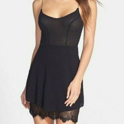 Free People Intimately Textured Black Knit Dress with Eye Lash Lace Hem Size S