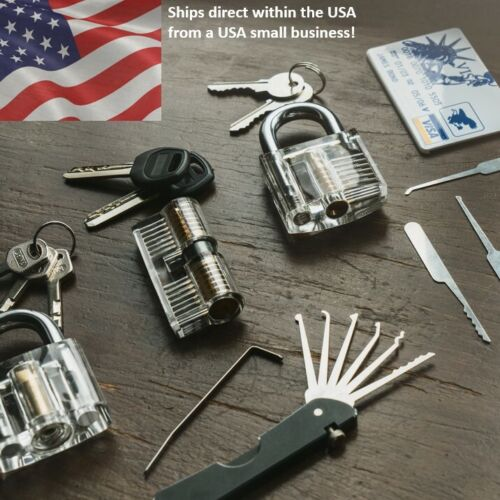 11pc Lock repair set with unique multi-tool & 3x transparent practice locks