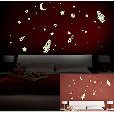 DIY Glow In The Dark Space Stars  Planet Rocket Luminous PVC Wall Sticker Kids