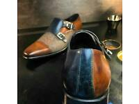 Mens patina double monk shoes
