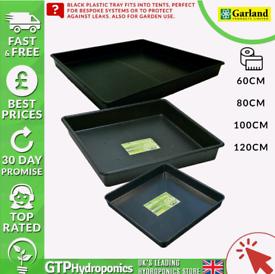 Black square plastic tray - hydroponics
