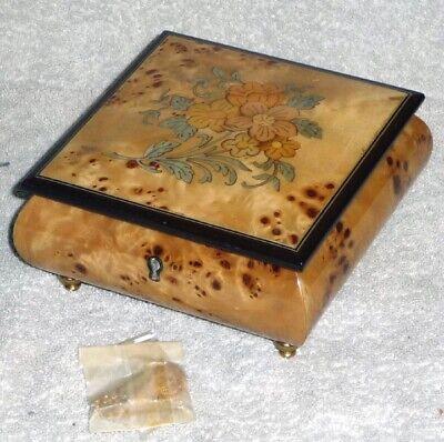 Vintage Reuge Wood Musical Jewelry Box, Switzerland, Memory 5988, w/Key, Unused