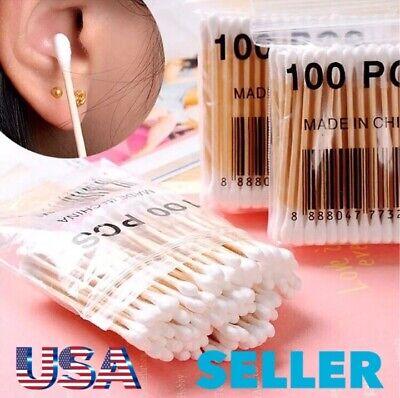 300pcs Organic Wooden Stick Cotton Swab/Eco Friendly Biodegradable Cotton Bud Organic Cotton Swabs