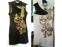 BEAUTIFUL BLACK OR WHITE DRESS SIZE 6 AND SIZE 8.£7 EACH