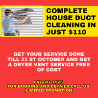 RESIDENTIAL HOUSE DUCT CLEANING WITH FREE DRYER VENT CLEANING