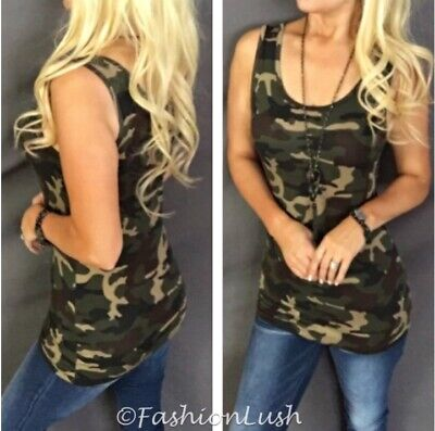 Camouflage Print Scoop Neck Sleeveless Rayon Stretch Fitted Layer Cami Tank Top
