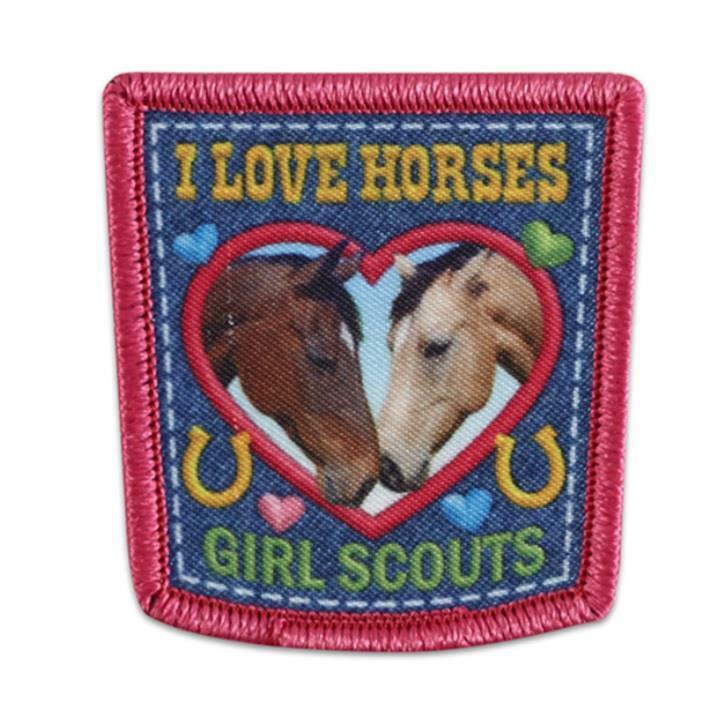 Girl Scouts I LOVE HORSES riding Fun Patches Crest SCOUT GUIDE Farn day tour