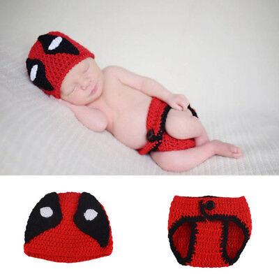 Neugeborene Baby Strick Fotoshooting Fotografie Deadpool Kostüm Mütze Höschen