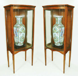 Pair Edwardian Satinwood Sheraton revival bow front display pier cabinets neatly sized Manchester