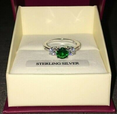 Sterling Silver created Emerald & Diamond Trio Engagement style Ring Sizes L - R