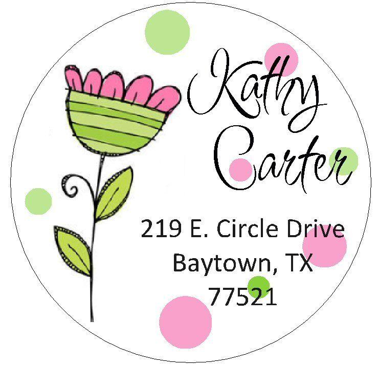 PRETTY PINK & GREEN FLOWER -  Round Return Address Labels