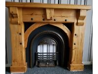 Oak fireplace with inset