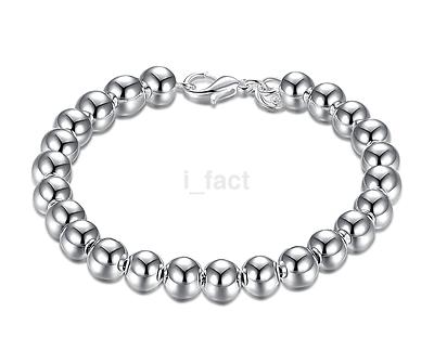 Beautiful Women Jewelry 925 Silver Plated Beads String Chain Bracelet Bangle New